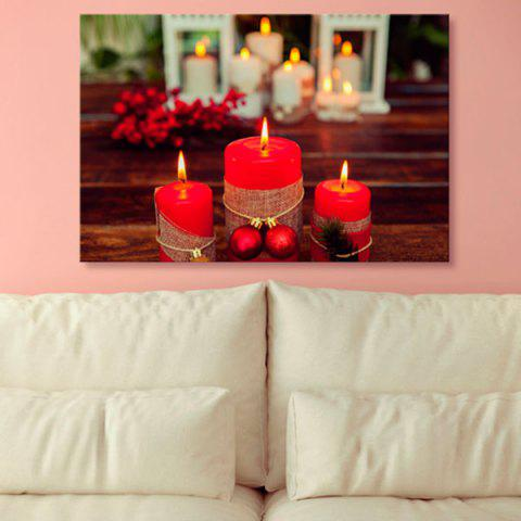 Store Christmas Candle Print Canvas Wall Art Painting RED 1PC:24*39 INCH( NO FRAME )