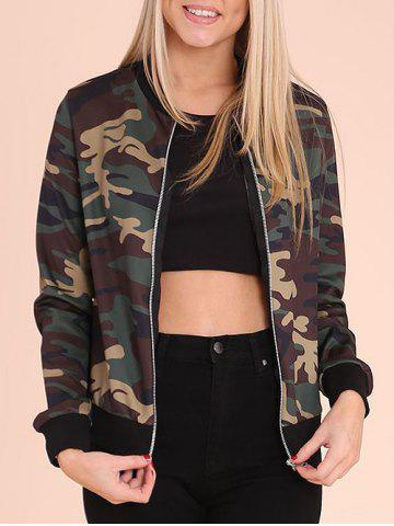 Fashion Zip Up Camouflage Print Jacket CAMOUFLAGE M