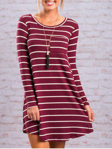 Fancy Casual Long Sleeve Striped Tee Dress - XL RED Mobile