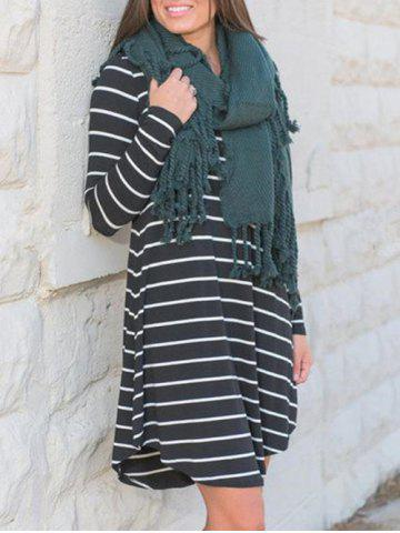 Trendy Casual Long Sleeve Striped Tee Dress - XL BLACK Mobile
