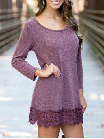 Chic Casual Sleeved Lace Hem Tunic Dress - S PURPLISH RED Mobile