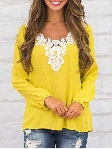 Crochet Insert Casual Long Sleeve Top Jaune S
