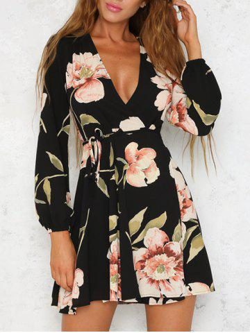 Latest Long Sleeve Low Cut Floral Dress COLORMIX XL