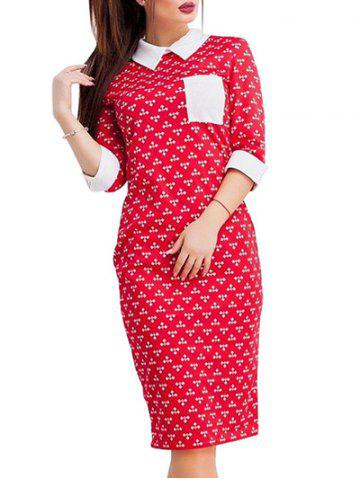 Buy Collared Sheath Dress - S RED Mobile