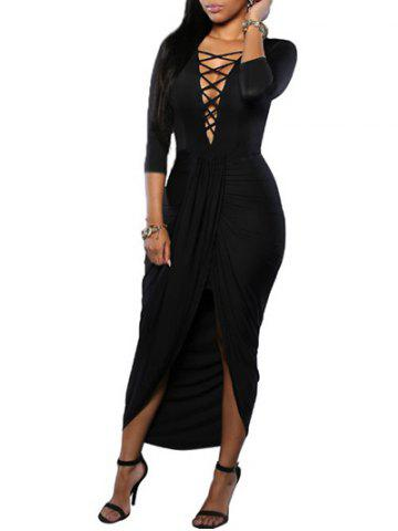 Discount Plunge High Low Draped Dress BLACK M