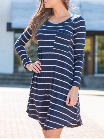 Fashion Casual Long Sleeve Striped Tee Dress - S BLUE Mobile