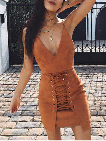 Trendy Plunge Lace-up Faux Suede Slip Dress - M KHAKI Mobile