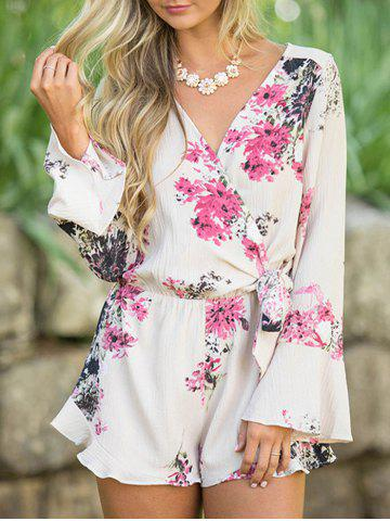Latest Floral Bell Sleeve Surplice Romper - XL FLORAL Mobile