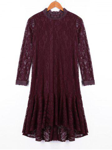 Affordable Crew Neck Lace Long Sleeve Dress DARK RED L