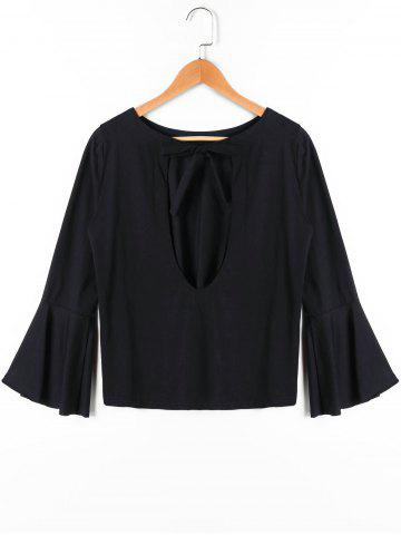Shops Bow Tie Bell Sleeve Blouse - S BLACK Mobile