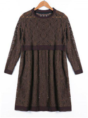 Store Crew Neck Long Sleeve Lace Dress
