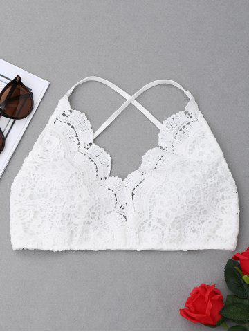 Criss Cross Lace Bralette Top Blanc L
