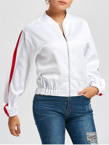 Fancy Stripe Bomber Jacket WHITE M