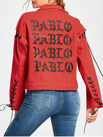 Discount Lace Up Jacket - S RED Mobile