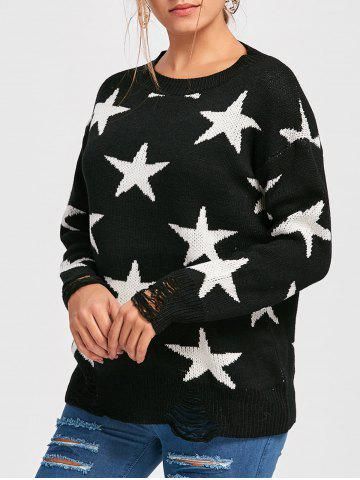 Star Jacquard Destroyed Sweater Noir TAILLE MOYENNE