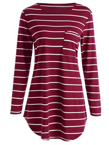 Fancy Stripe Pocket Tunic Mini T-shirt Dress RED S