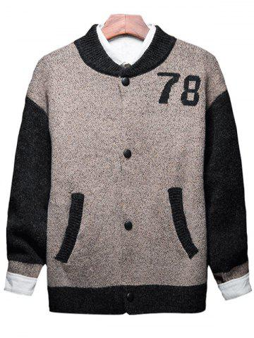 Online Button Up 78 Graphic Two Tone Cardigan - M KHAKI Mobile