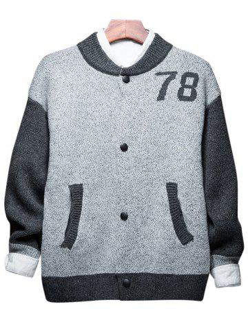 Button Up 78 Graphic Two Tone Cardigan