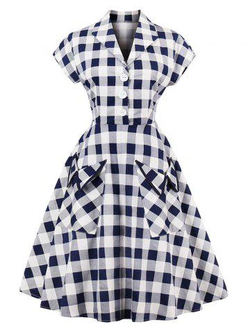 Fancy Vintage Pockets Plaid Henley Skater Dress - S CHECKED Mobile
