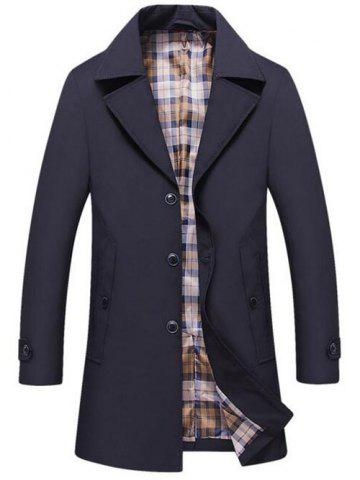 Discount Single Breasted Lapel Trench Coat PURPLISH BLUE XL