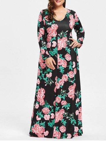 Latest Plus Size Flower Print V Neck Maxi Dress