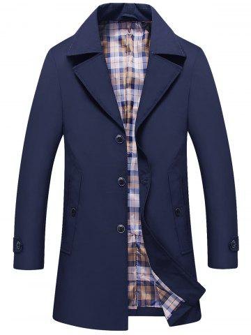 Sale Single Breasted Lapel Trench Coat - L DEEP BLUE Mobile