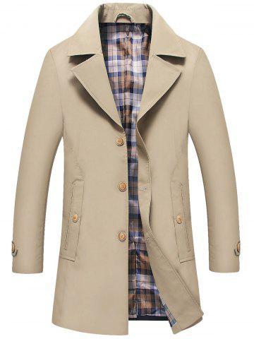 Shop Single Breasted Lapel Trench Coat - 3XL KHAKI Mobile