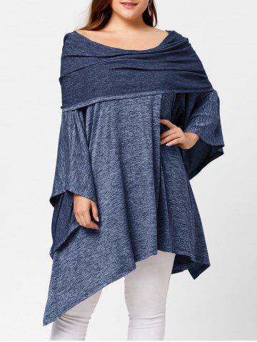 Outfits Off Shoulder Plus Size Asymmetric Tunic Top - ONE SIZE LIGHT BLUE Mobile