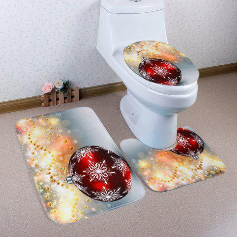 Affordable 3Pcs Christmas Ball Print Toilet Bath Rugs Set COLORMIX