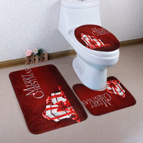 Best 3Pcs Christmas Gift Print Bath Toilet Rugs Set - DARK RED  Mobile