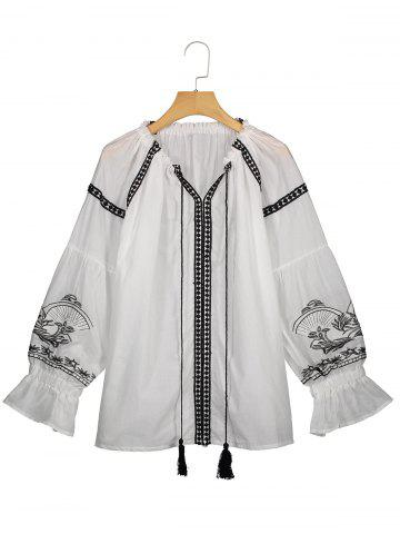 Best Tassel Drawstring Plus Size Embroidery Top - 2XL WHITE Mobile