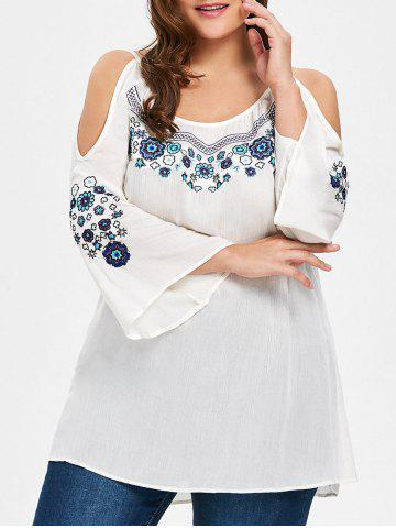 Cheap Plus Size Cold Shoulder Floral Embroidered Blouse - XL WHITE Mobile