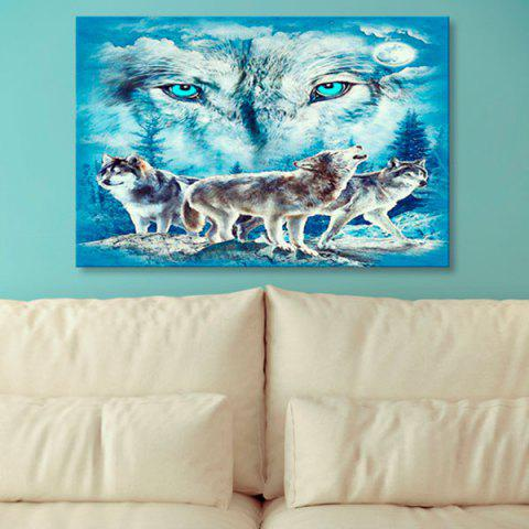 Shop Wall Art Wolf Print Canvas Painting ICE BLUE 1PC:24*39 INCH( NO FRAME )