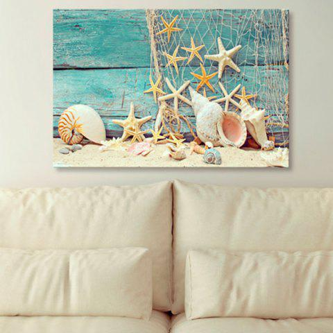 Online Starfish Wood Grain Print Canvas Wall Art Painting CASPIAN 1PC:24*39 INCH( NO FRAME )