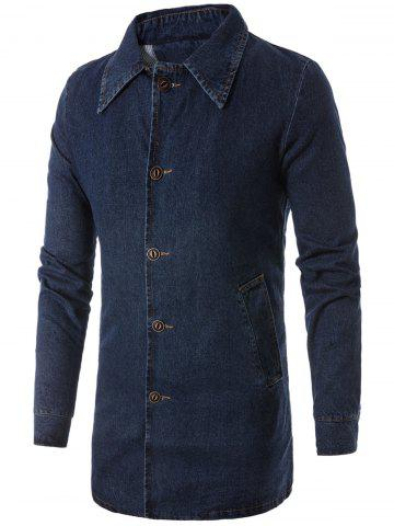Trendy Button Up Turndown Collar Longline Denim Coat - XL DEEP BLUE Mobile