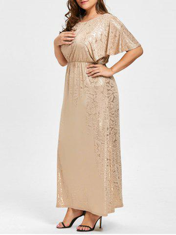 Chic Long Bronze Plus Size Flutter Sleeve Dress