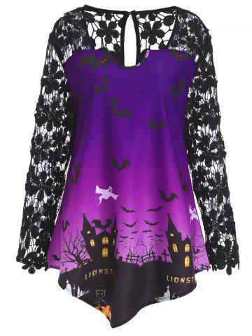 Cheap Plus Size Lace Panel Asymmetrical Halloween T-shirt - XL PURPLE Mobile