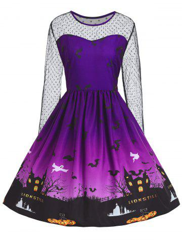 Fashion Plus Size Halloween Pumpkin Castle Print Vintage Dress - 5XL PURPLE Mobile