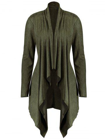 Buy Long Plus Size Faux Suede Jacket - XL ARMY GREEN Mobile