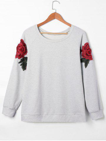 Pullover Raglan Sleeves Floral Embroidered Sweatshirt Gris L
