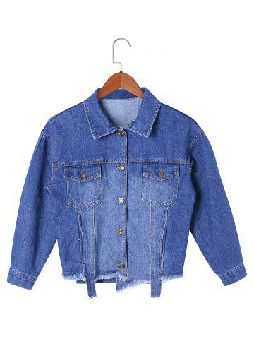 Affordable Frayed Hem Short Jean Jacket - L DENIM BLUE Mobile