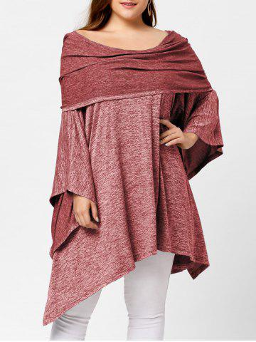 Fashion Off Shoulder Plus Size Asymmetric Tunic Top RED ONE SIZE