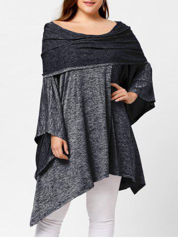 Outfit Off Shoulder Plus Size Asymmetric Tunic Top - ONE SIZE DEEP GRAY Mobile