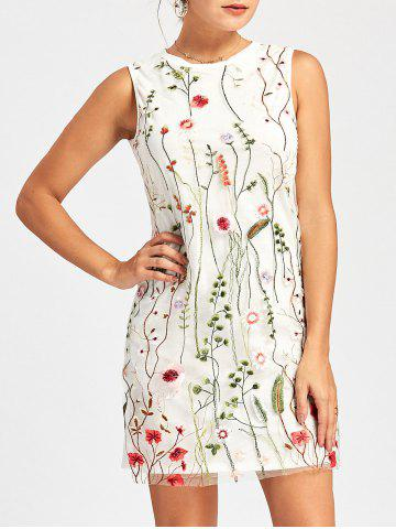 Fashion Floral Sleeveless Embroidered Mesh Dress WHITE S