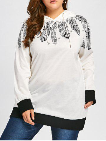 Latest Feather Print Drawstring Tunic Plus Size Hoodie