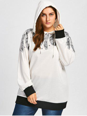 Feather Print Drawstring Tunic Plus Size Hoodie