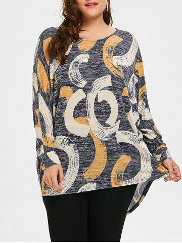 New Long Plus Size Print High Low Top - XL GRAY Mobile