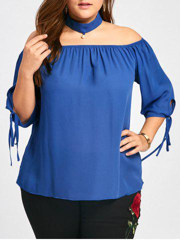 Buy Plus Size Tie Cuff Choker Blouse
