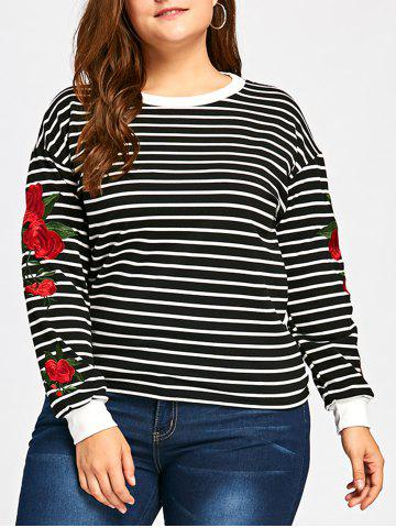 Shops Casual Embroidery Striped Sweatshirt - ONE SIZE BLACK Mobile