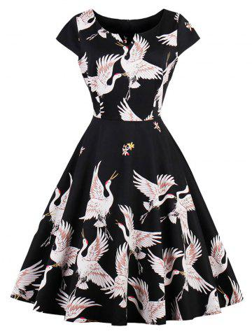 Best Retro Goose Print Fit and Flare Dress BLACK S